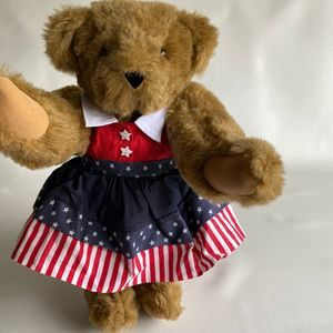 VERMONT TEDDY BEAR WITH RED WHITE  & BLUE DRESS